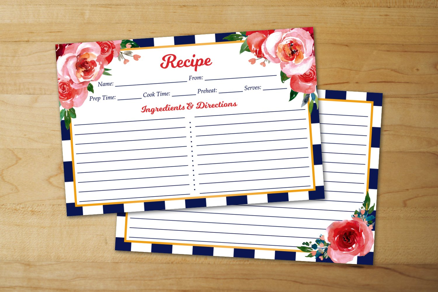 Navy Blue Stripe Perfect for Wedding or Bridal Shower Thick Cardstock Pink Floral Recipe Cards 4x6 Set of 50 Navy Blue Vintage Recipe Cards Double Sided