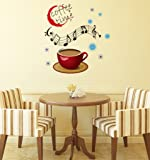 Decals Design 'Coffee Time with Musical Notes' Wall Sticker (PVC Vinyl, Multicolour, 60 cm x 45 cm x 1 cm)