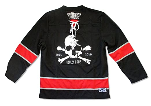 Amazon.com  Motley Crue Skull 1981 - 2015 Black Hockey Jersey Shirt ... 7b3a166af10
