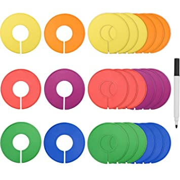 Blulu Colored Blank Closet Size Dividers Round Clothing Rack Dividers 24  Pieces With 1 Marker Pen
