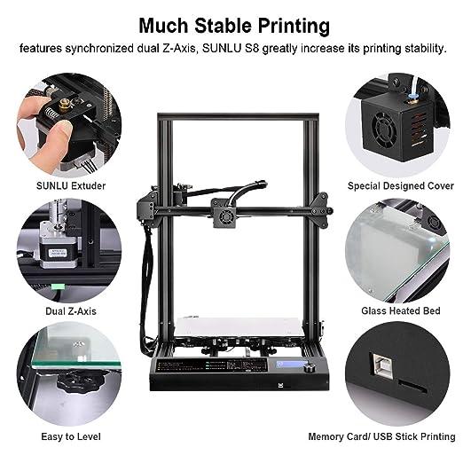 detecci/ón de fallas en el filamento y reanudaci/ón de la impresi/ón SUNLU Impresora 3D /Último 95/% de tama/ño de impresi/ón preensamblado 310x310x400 mm con doble impresi/ón en el eje Z