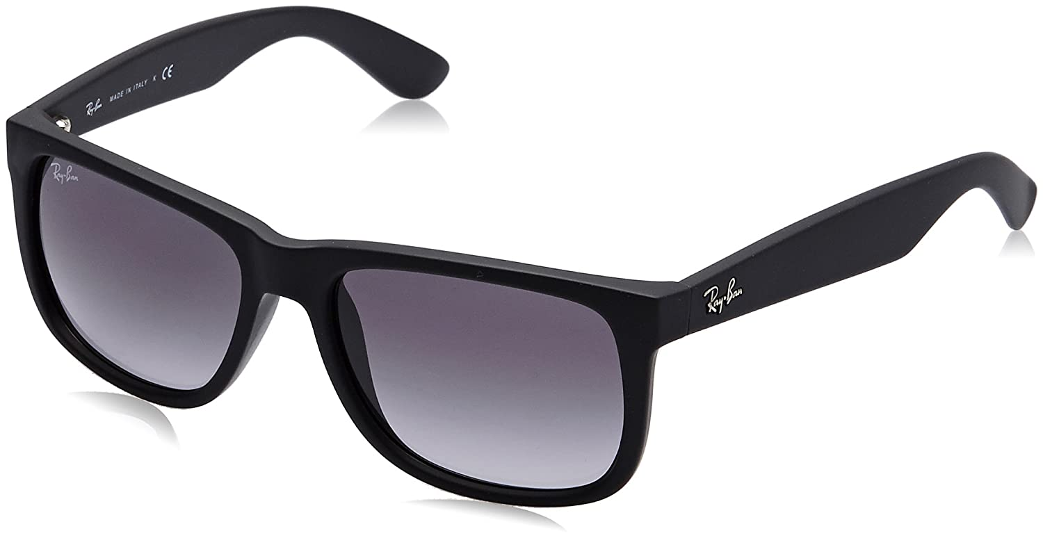 626f11279ca Amazon.com  Ray-Ban Justin RB4165 Sunglasses-601 8G Rubber Black Gray  Gradient-51mm  Ray-Ban  Clothing