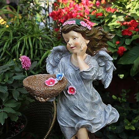 Nobrannd Decoracion Jardin Niña Styling Adornos de jardín Estatua del jardín Figura de Resina Ilustraciones del jardín (Color : Gray, Size : 30x25x65cm): Amazon.es: Hogar