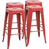 Furmax 30 Inches Metal Bar Stools High Backless Stools Indoor Outdoor Stackable Kitchen Stools Set of 4 (Red)