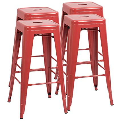 Amazoncom Furmax 30 Inches Red Metal Bar Stools High Backless
