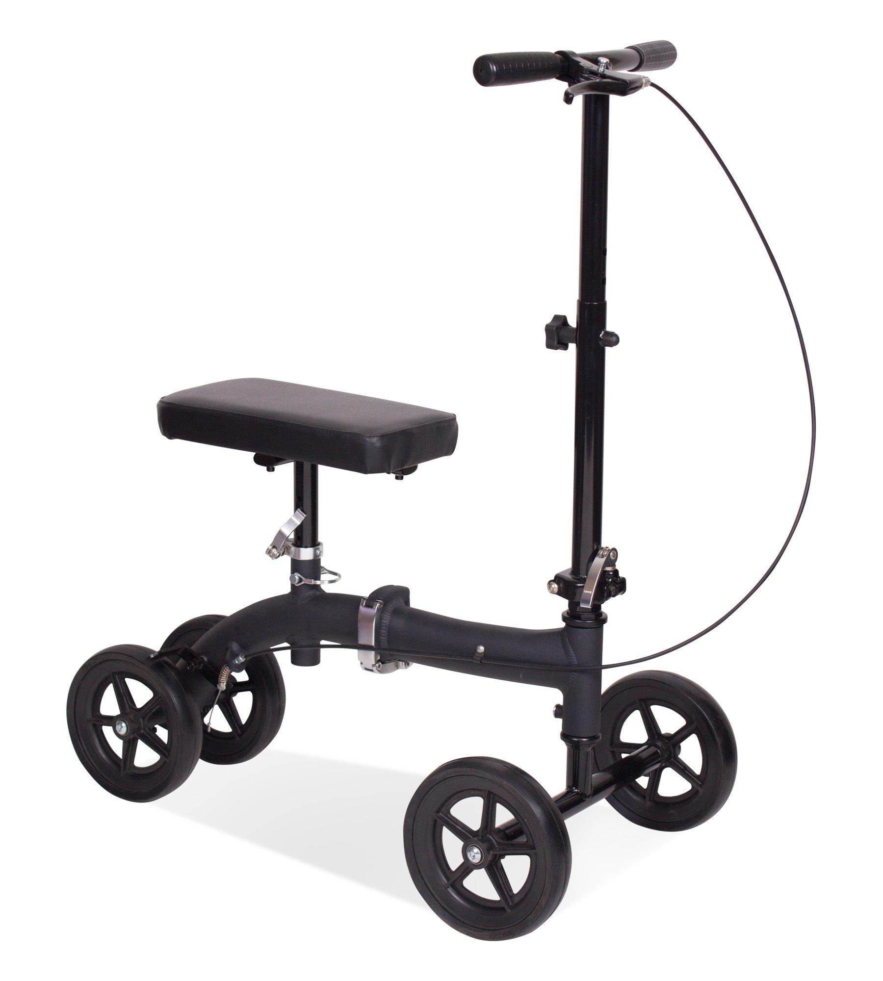 Carex Knee Walker/Scooter with Height Adjustment, Black, Crutch Alternative, 14 Pound