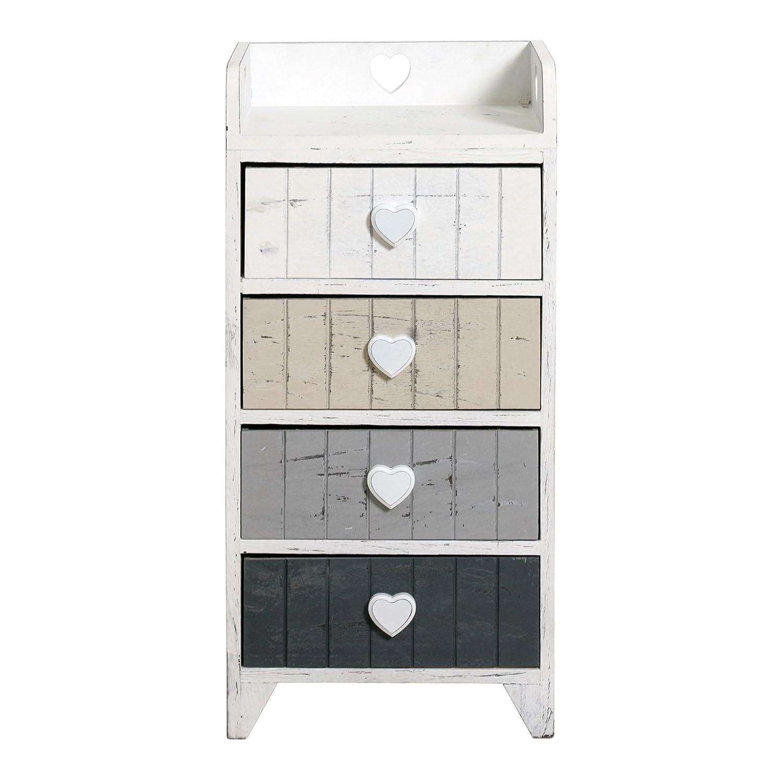Meuble d'appoint/à tiroirs, avec étagère fermée sur 3côtés REBECCA LOVE, blanc, style shabby avec 4tiroirs colorés, poignées en forme de cœur style vint