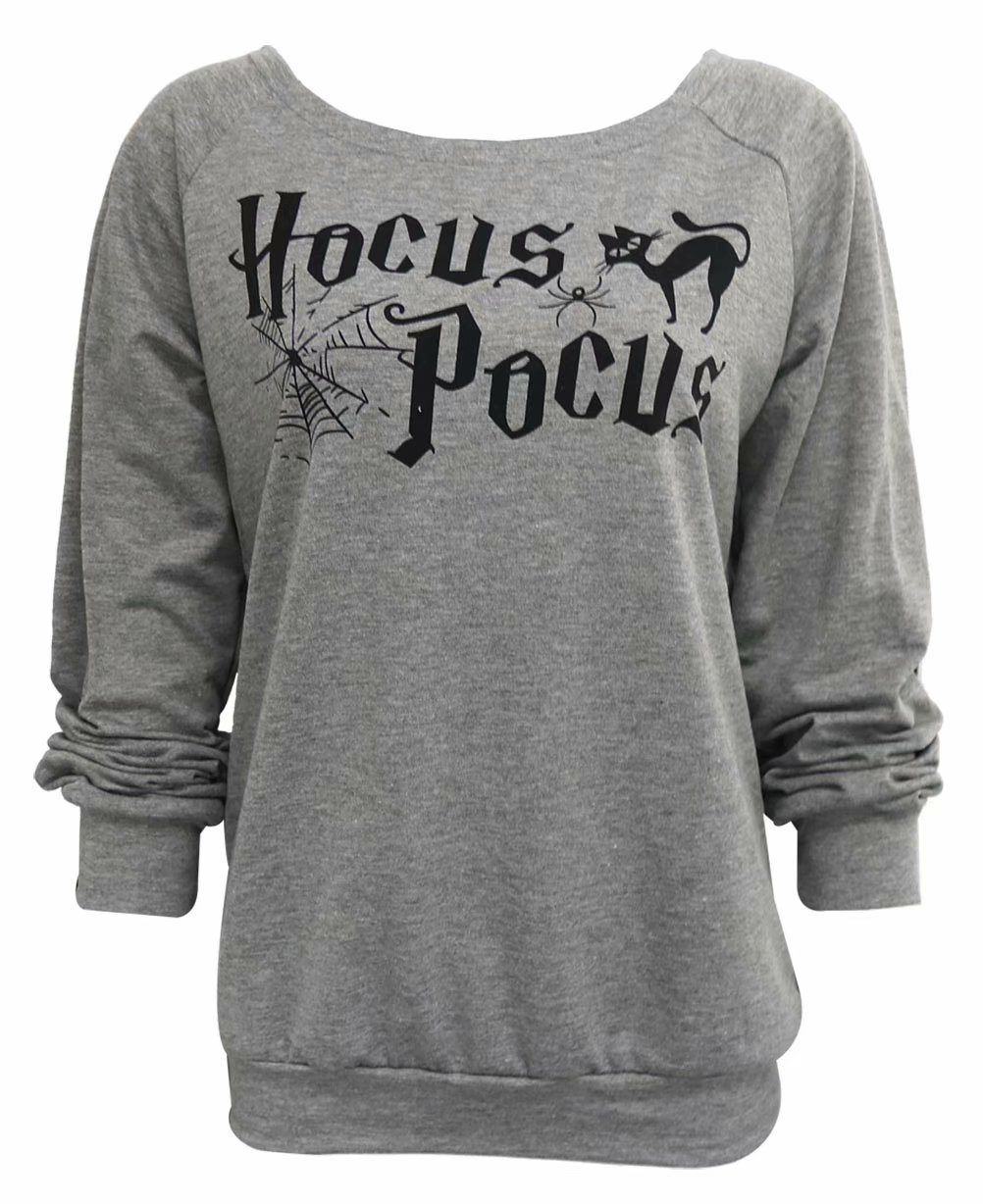 MNLYBABY Women Hocus Pocus Print Long Sleeve Boatneck Halloween Sweatshirt Pullover Top Size US XL/Tag XXL (Gray)