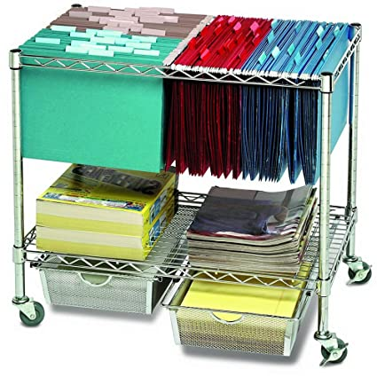 Amazoncom Rolling File Carts With Wheels Hanging Files And