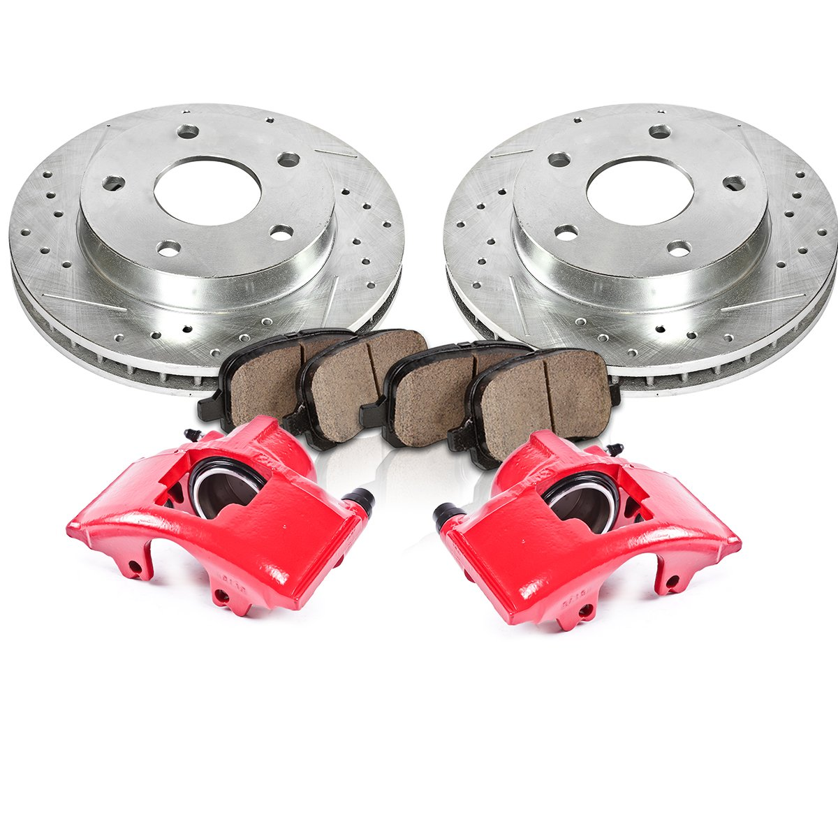 FRONT Red [2] Calipers + [2] Rotors + Quiet Low Dust [4] Ceramic Pads Performance Kit Callahan Brake Parts