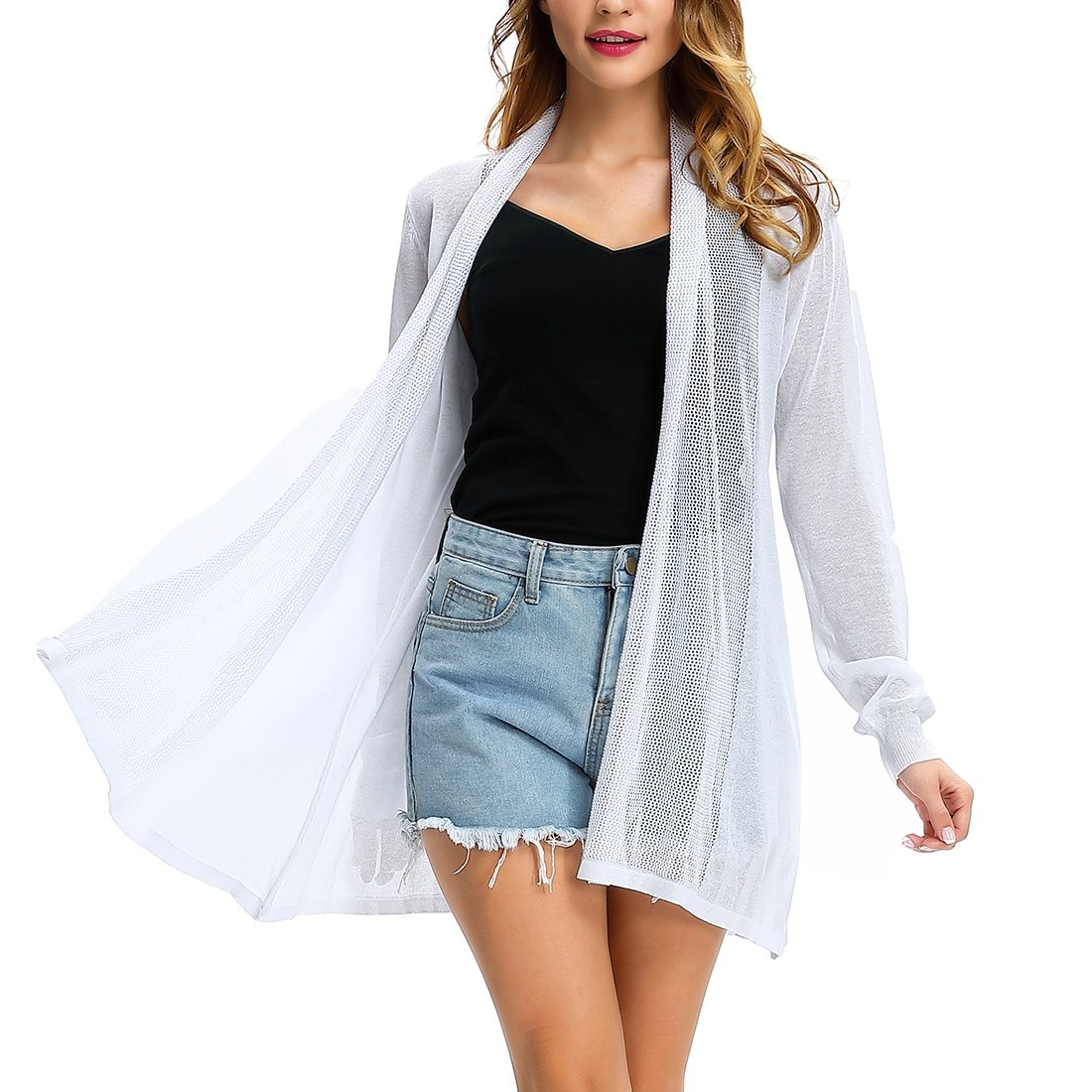 CJ Long Open Front Lightweight Breathable Cardigans Sweaters(White,XXL)