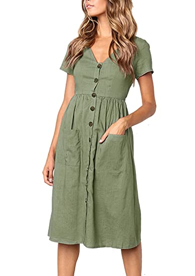 5ad3c563e5 Yidarton Women s Summer Short Sleeve V Neck Button Down Causal Plain Swing  Midi Dress with Pockets at Amazon Women s Clothing store