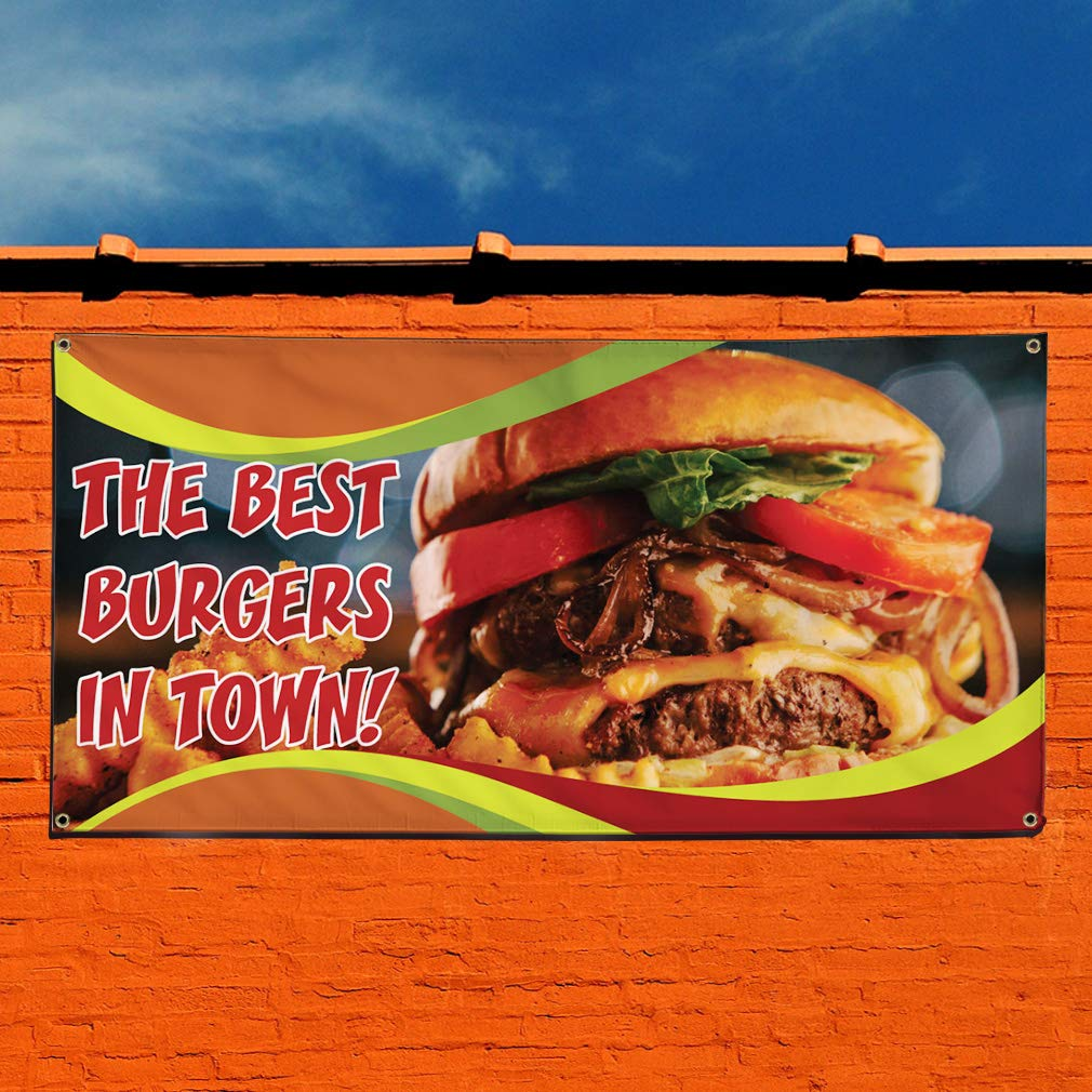 Set of 3 Outdoor Marketing Advertising Brown 4 Grommets 24inx60in Vinyl Banner Sign The Best Burgers in Town Multiple Sizes Available
