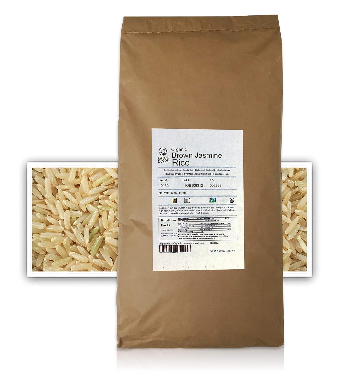 Lotus Foods Gourmet Organic Brown Jasmine Rice, 25 Pound (Pack of 1)