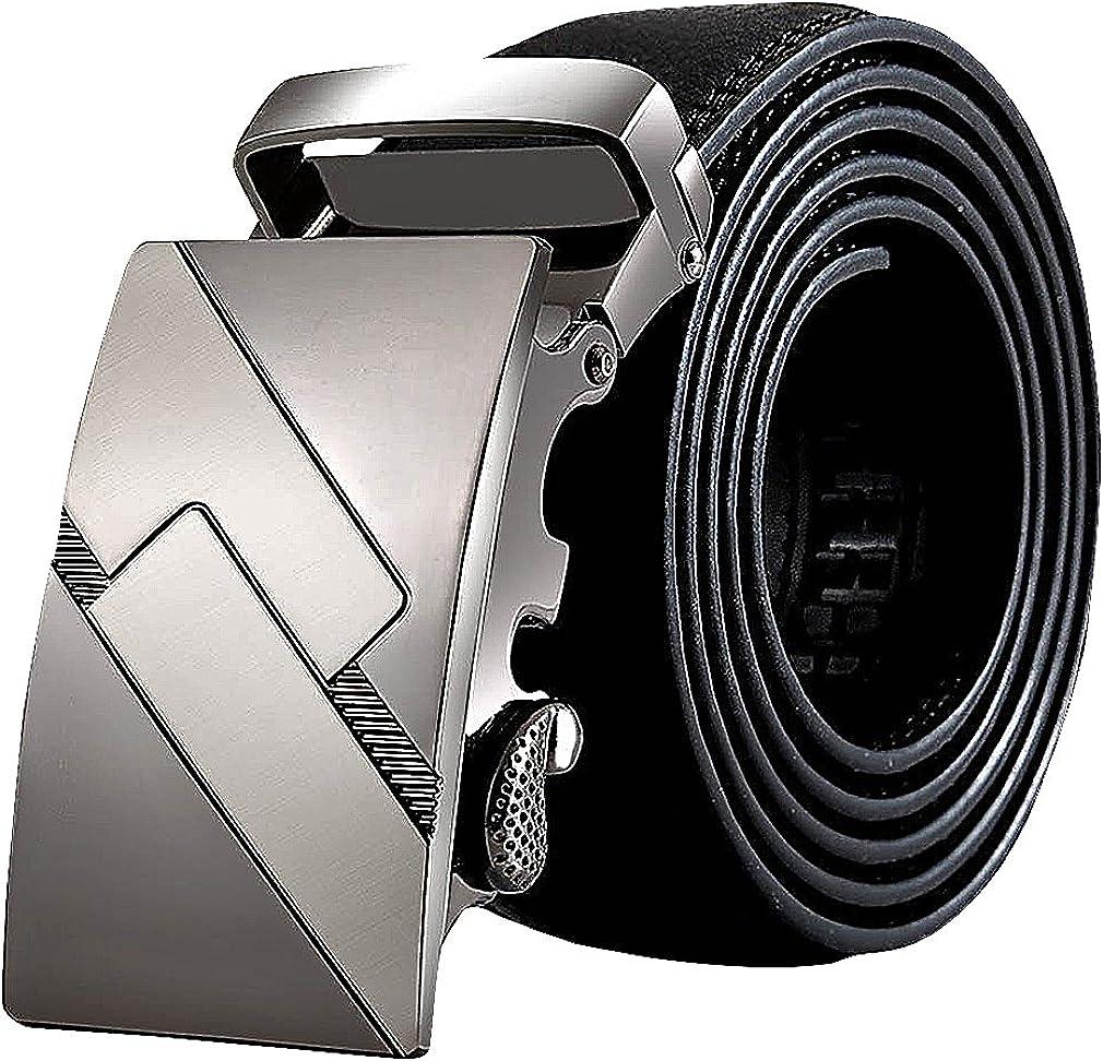 Celino Mens Black Faux Leather 3.7 cm Wide Eclectic Geo Automatic Buckles Belt