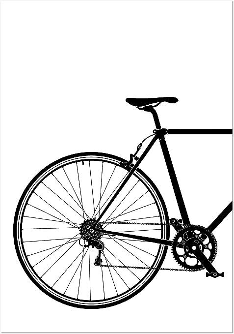 Panorama Lienzo Bicicleta Clásica en Blanco y Negro Parte Trasera ...