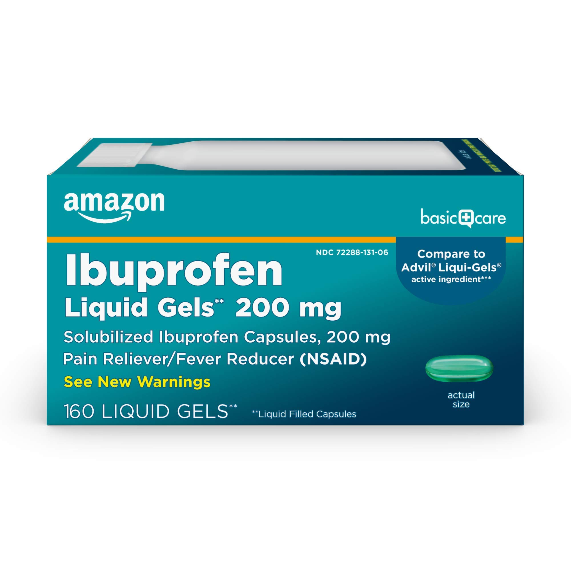 Amazon Basic Care Ibuprofen Liquid Gels 200 mg, Pain Reliever/Fever Reducer (Liquid Filled Capsules), 160 Count (Pack of 1)