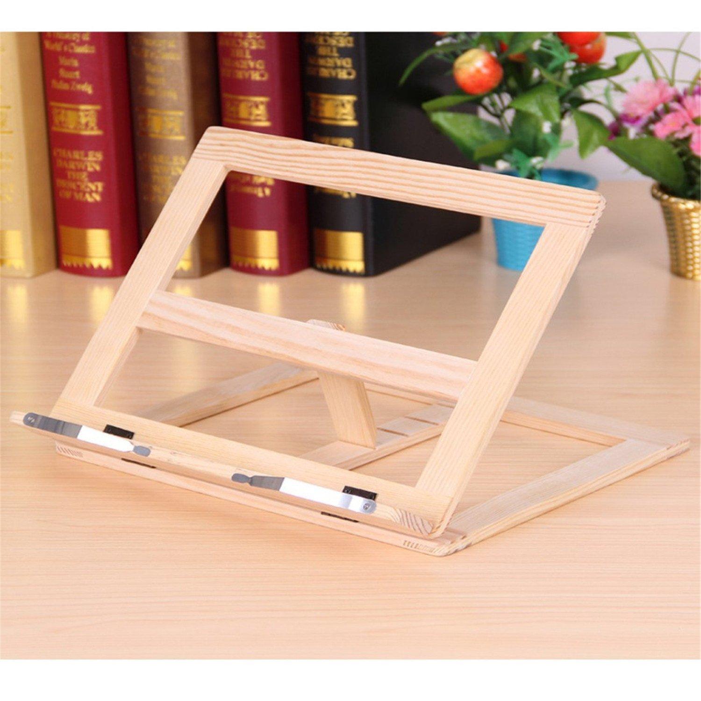 LKXHarleya Wooden Frame Reading Bookshelf Bracket Tablet PC Support Music Stand