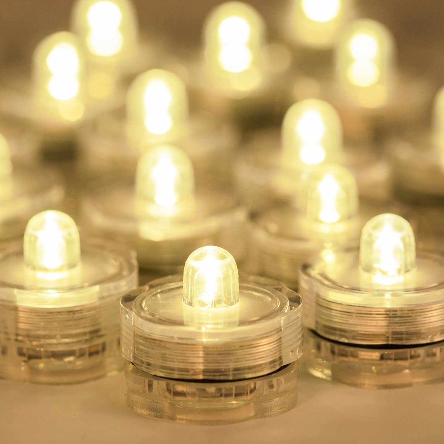Warm White Waterproof Wedding Underwater LED Tea Lights Candles for Centerpieces//Party//Christmas Set of 24 Submersible LED Lights