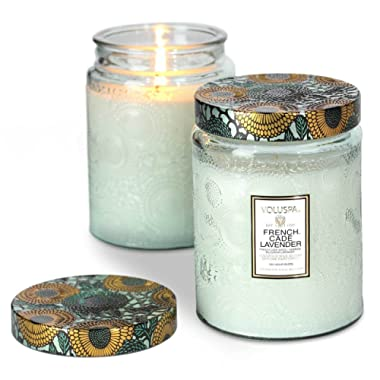 Voluspa French Cade and Lavender Large Glass Jar Candle, 16 Ounce