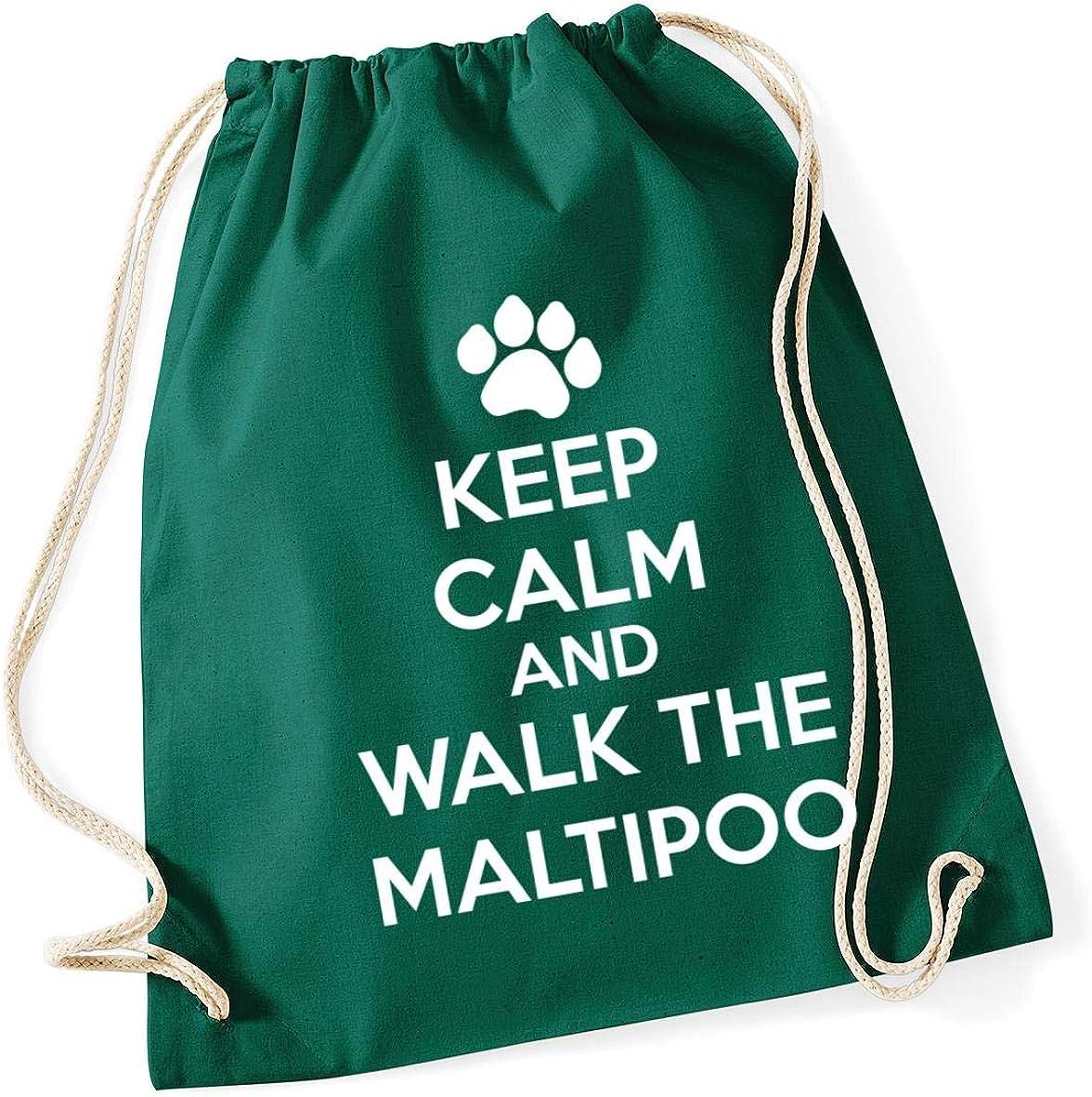 dog Drawstring Cotton School Gym Bag 37cm x 46cm Hippowarehouse Keep calm and walk the maltipoo 12 litres