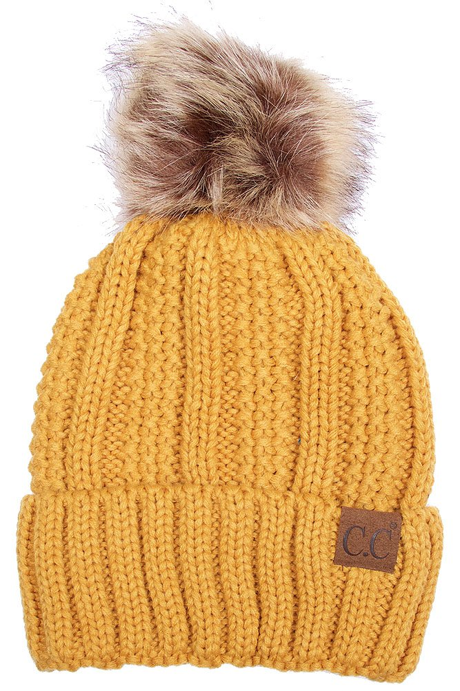 scarvesme Exclusive CC Knitted Hat with Fuzzy裏地with Pom Pom B01J6FLA6C マスタード マスタード