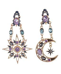 Pinksee Retro Crystal Rhinestone Moon Sun Dangle Earring Gothic Baroque Bohemian Drop Earrings