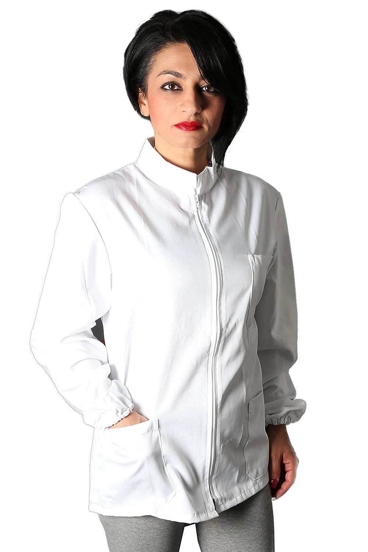 Petersabitidalavoro Camice CASACCA Da Lavoro Con Zip Unisex Bianco Per Estetica Farmacisti