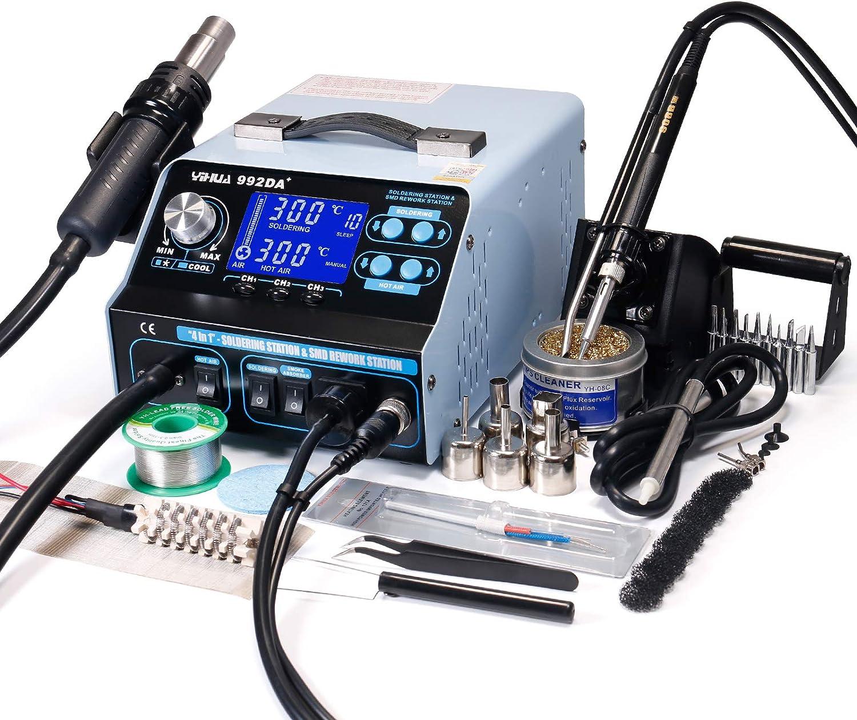 YIHUA 992DA+4 en 1 estación de soldadura de aire caliente estación de soldadura de hierro extractor de humo y herramienta de recogida de vacío con muchas nuevas características enchufe de Reino Unido