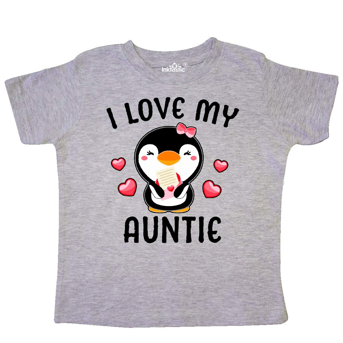 inktastic I Love My Auntie with Cute Penguin and Hearts Toddler T-Shirt