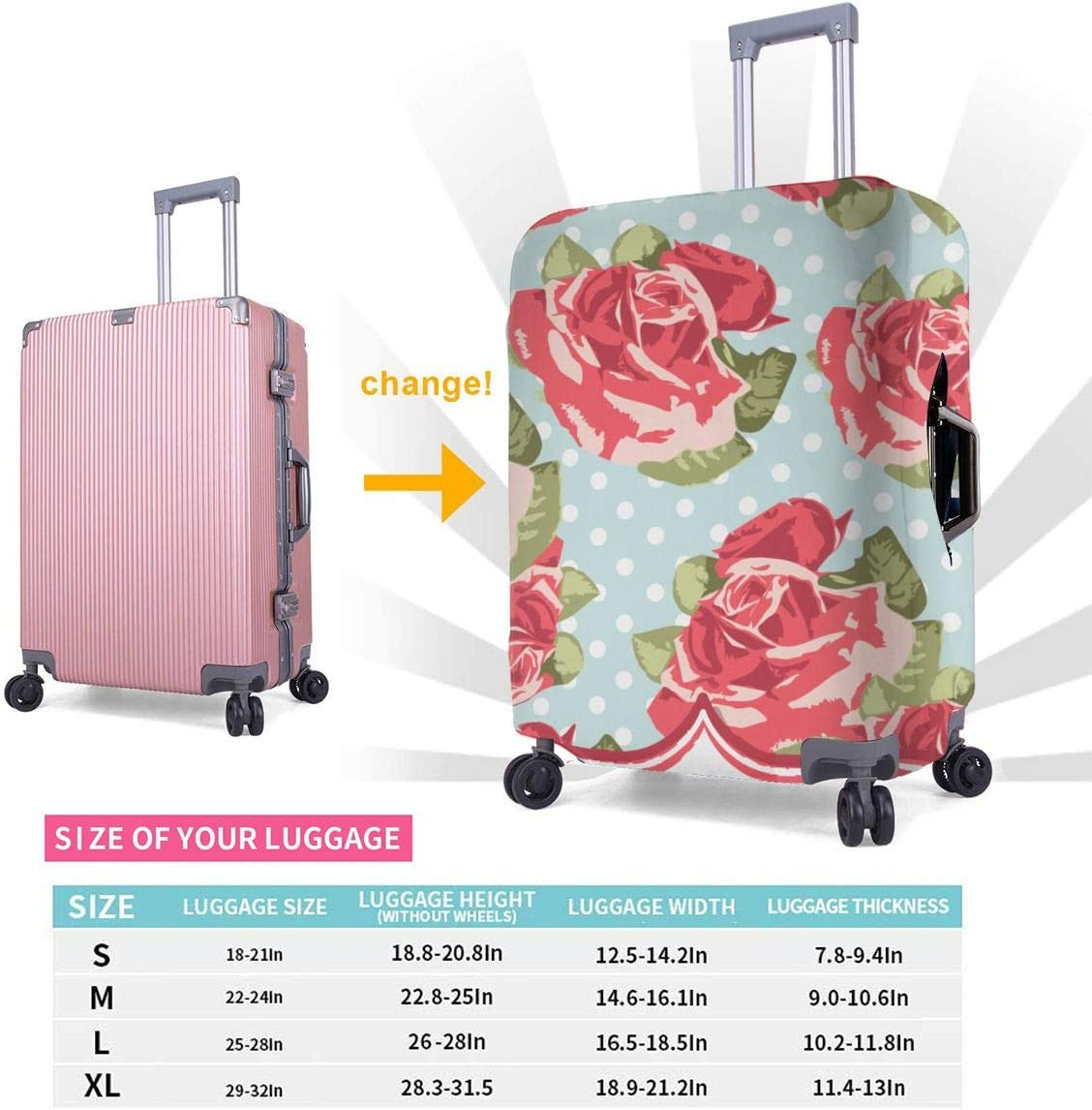 Shabby Chic Rose Patterns4 XL Luggage Covers Travel Luggage Cover Spandex Travel Luggage Cover Suitcase Protector Fits 18-32 Inch Luggage Case