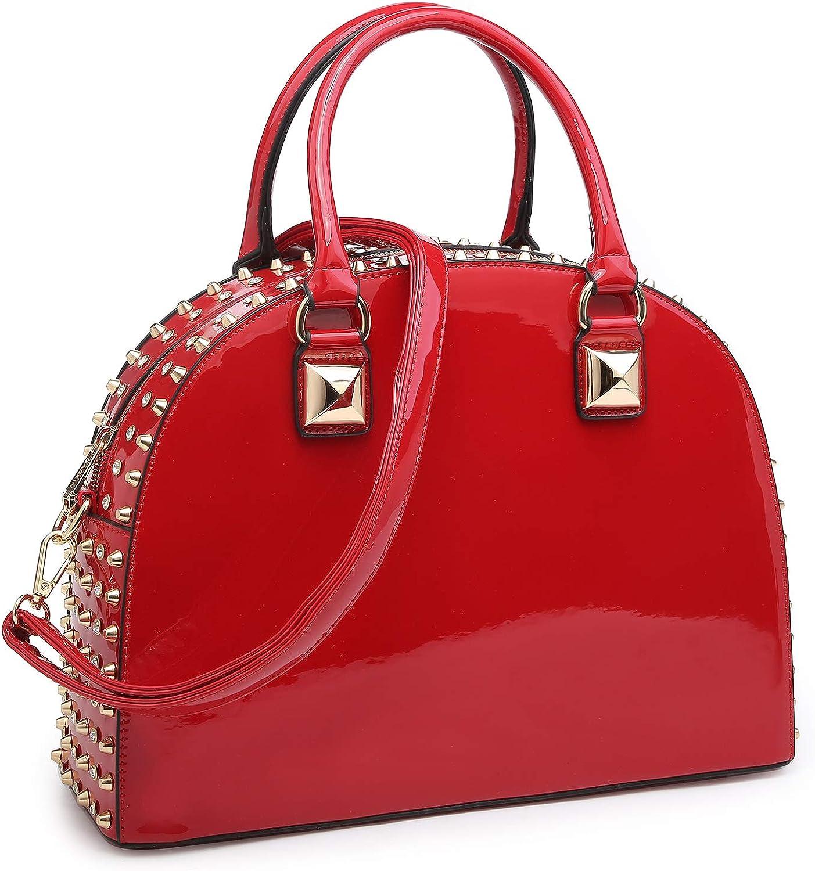 Dasein Vegan Leather Handbag Domed Satchel Bag Rhinstone Structured Shoulder Bag
