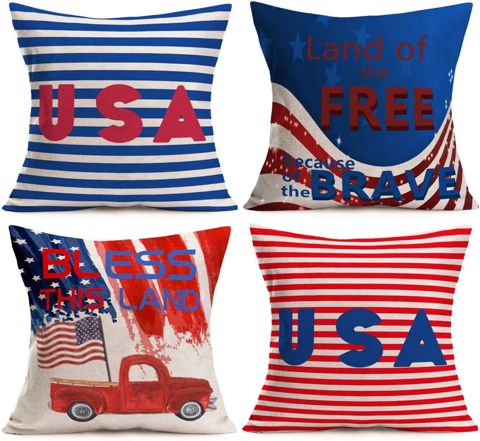 Aremetop 4th of July Decor Bless This Land Outdoor Pillow Covers 18x18 Inch Set of 4 Land of The Free Because of The Brave Patriotic Quote Decorations USA Red Blue Stripes Throw Pillow Cushion Cover