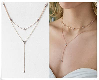 3fd22947d688ad Image Unavailable. Image not available for. Color: Choker and Lariat  Necklace Set, Rose Gold Choker Layering ...