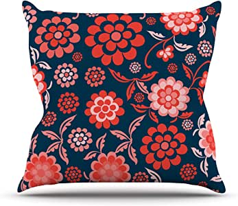 Kess InHouse Nicole Ketchum Cherry Floral Midnight Outdoor Throw Pillow, 18 by 18-Inch