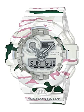 ca51169b28c8 Image Unavailable. Image not available for. Color  Casio G-Shock X SANKUANZ  Men s Watch White Camo 54mm ...