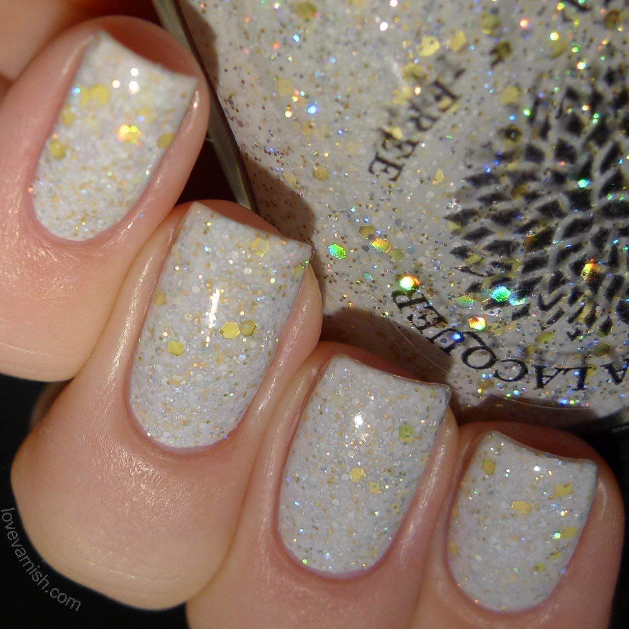 Amazon.com: Olaf\'s Snowflowers | White Nail Polish with Holo Gold ...