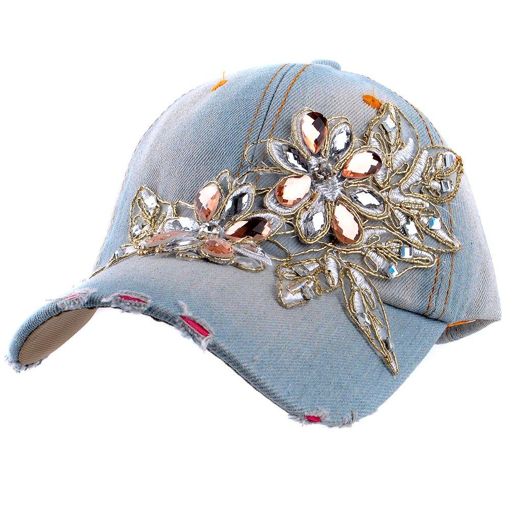 303801e07a8 Elonmo Lace Flower Bling Rhinestone Hat