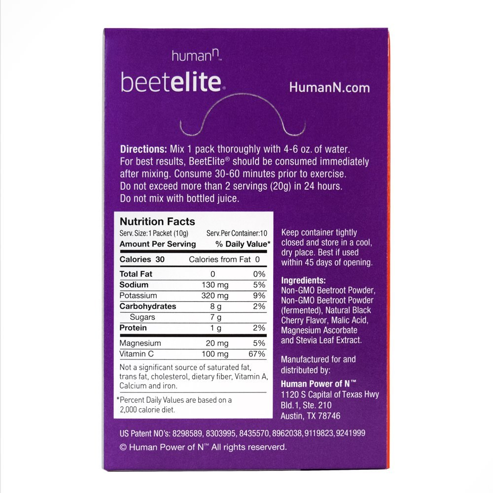 HumanN BeetElite Superfood Concentrated Beet Powder Nitric Oxide Boosting Athletic Endurance Supplement Black Cherry Flavor, 0.35-Ounce, 10 Packets