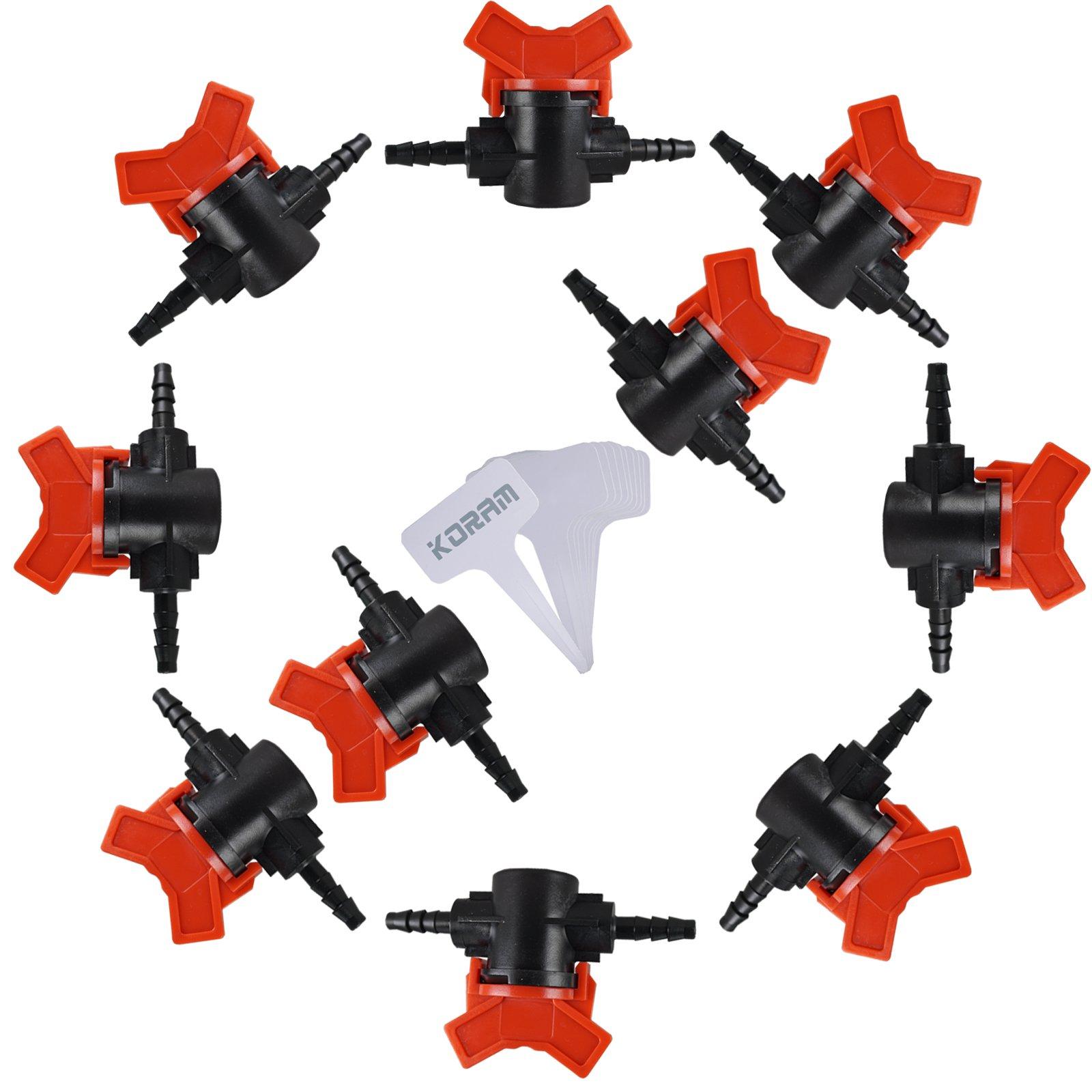 KORAM Drip Irrigation Barbed Valve Shut-off Valve for 1/4'' Tubing, set of 10(Gift:10PCS Plant Tag)