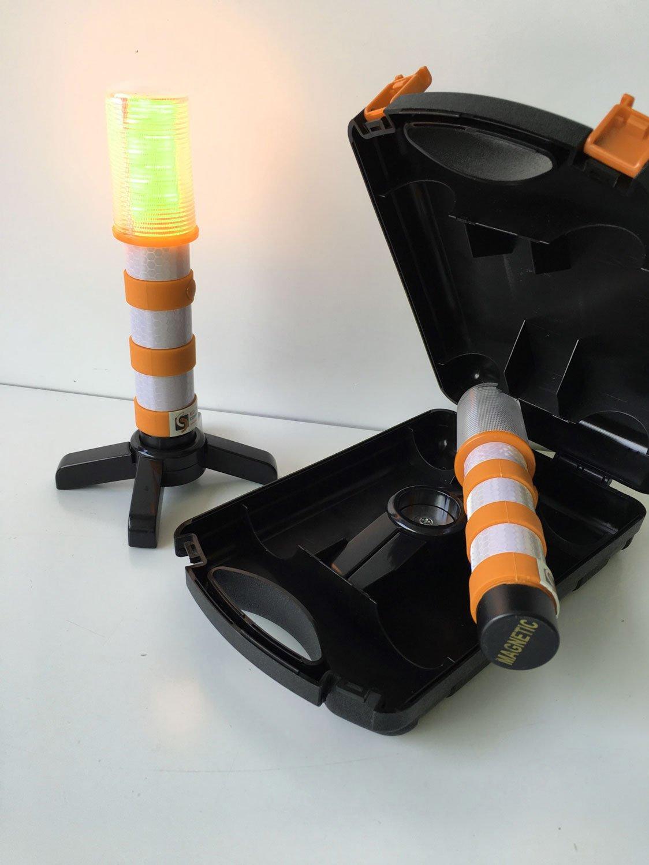 2 St/ück UvV UVAC3828 LED FlashFlare Orange Warnleuchten Set mit Standfu/ß und St/änder Blitz in Orange Orange