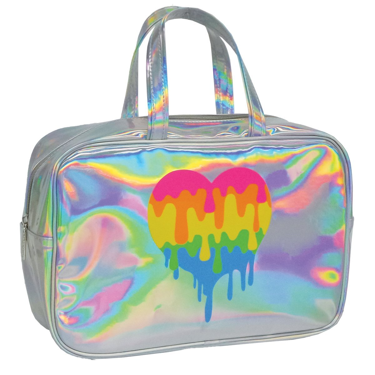 iscream 'Dripping Rainbow Heart' 12.25'' Holographic Handled Zippered Cosmetic Bag