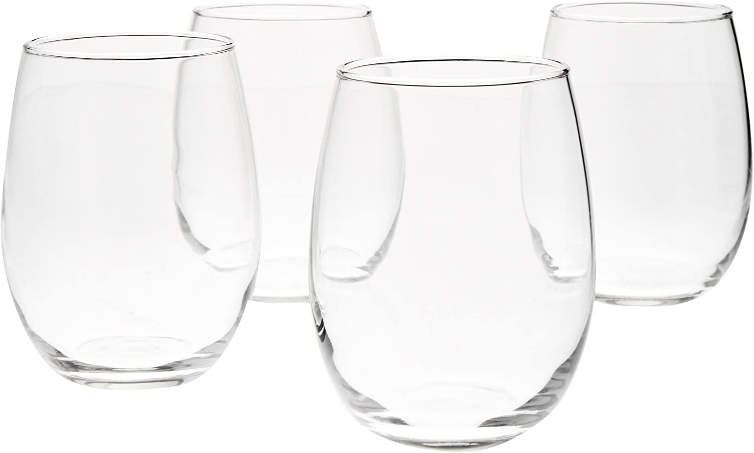 AmazonBasics Stemless Wine Glasses, 15-Ounce, Set of 4