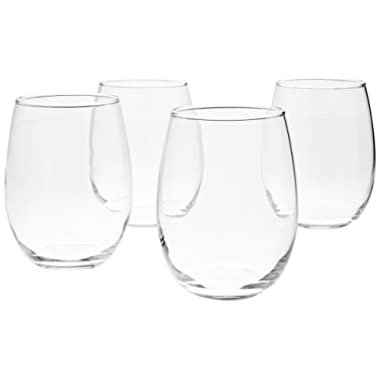 AmazonBasics Stemless Wine Glasses (Set of 4), 15 oz