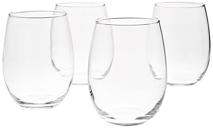 Review AmazonBasics Stemless Wine Glasses,