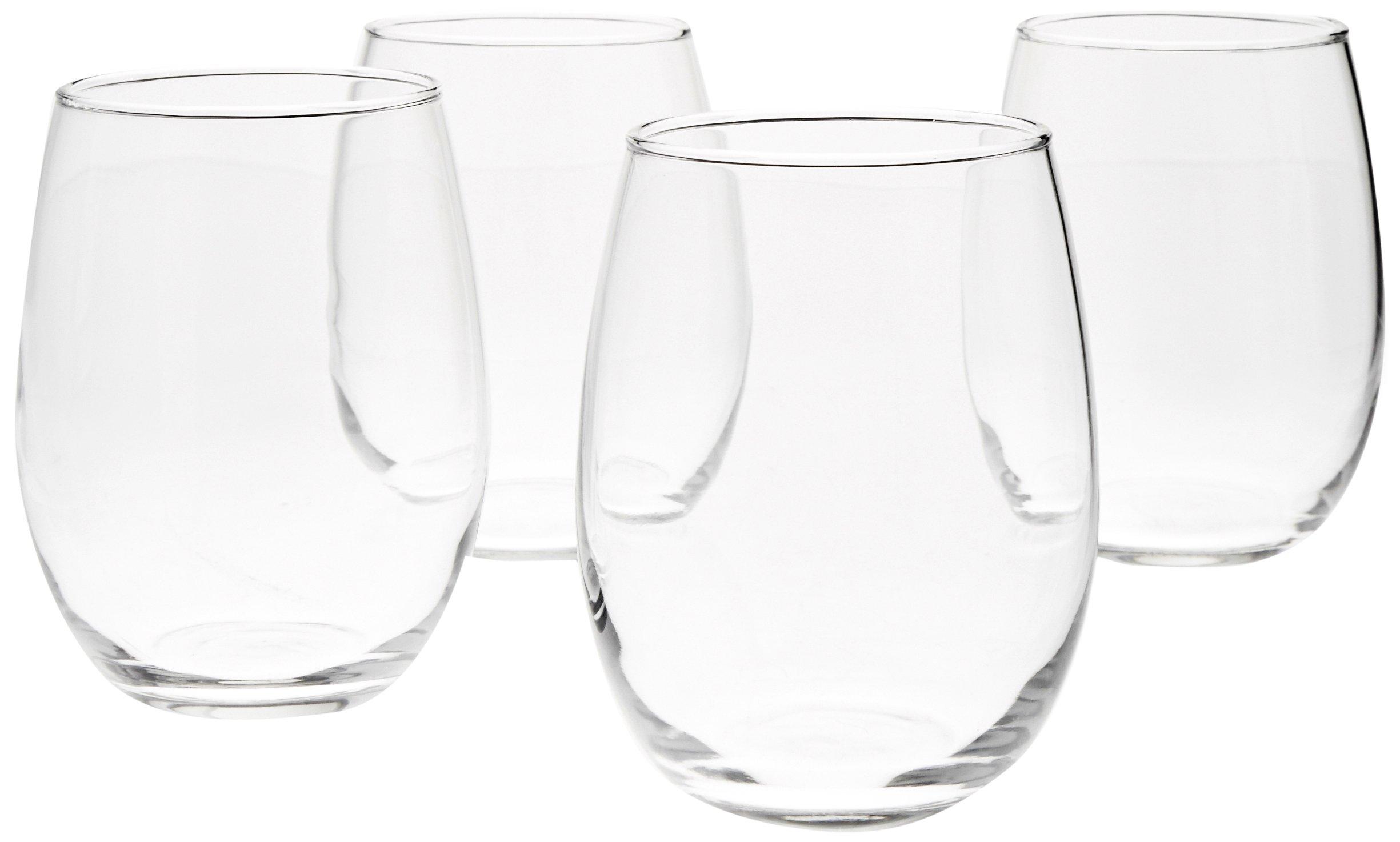 AmazonBasics Stemless Wine Glasses, 15-Ounce - Set of 4