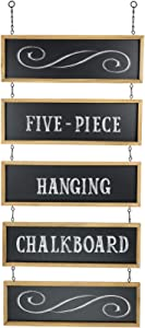 Excello Global Products Hanging Chalkboard Sign Wooden Framed Vintage Rustic Wedding Signs Kitchen Pantry & Wall Decor Rectangle Erasable Black Board Connected Panels with Chains: 32 1/2 x 15 3/4