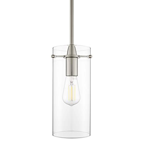 finest selection 16186 648a8 Effimero Large Hanging Pendant Light | Brushed Nickel Kitchen Island Light,  Clear Glass Shade LL-P315-BN