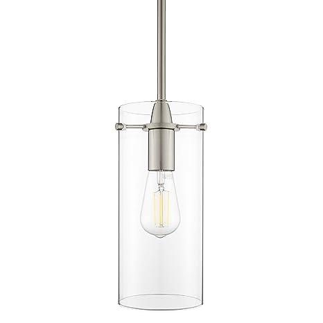 Effimero Large Hanging Pendant Light Brushed Nickel Kitchen Island Light Clear Glass Shade Ll P315 Bn