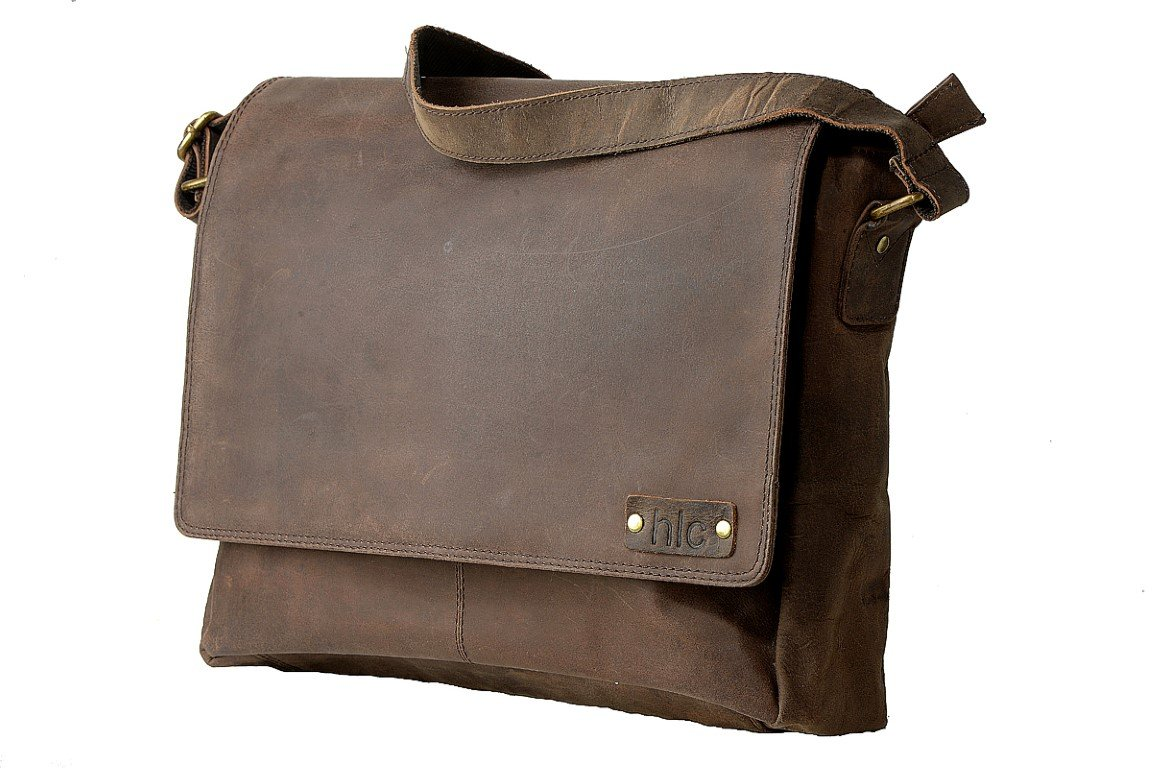 Handolederco. Leather Messenger Laptop Satchel Men's Bag Unisex Leather Satchel Flapover Shoulder Bag for Laptop good
